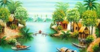 Tranh phong cảnh đẹp về làng quê quê hương Việt Nam 17